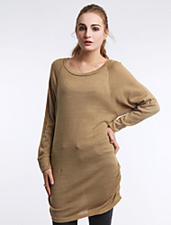 Women's Autumn Winter Fashion Plus Size Round Collar Sexy long Cotton Knitting Casual Base Blouse