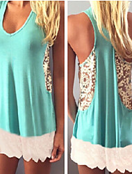 Women's Lace Blue Vest , U Neck Sleeveless