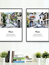 Canvas Print with Frame for European and American Ancient Building Style 2pcs/set