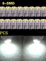 20 pièces t10 blanc pur coin W5W 8-SMD 168 194 2 825 175 ampoules à éclairage intérieur LED