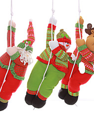 "3PCS/SET 57*25CM/22.4*9.8"" Christmas Decoration Gift Hanging Climbing Santa Claus Snowman Reindeer Doll Plush Toy Gift"