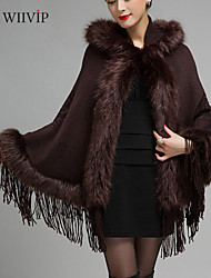 WMS Women's Autumn and Winter Pure-color Shawl Knitted Large Size Fur Coat