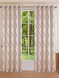 One Panel Modern Curve Bedroom Polyester Panel Curtain Drape