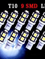 10 x t10 super blanc coin 9-SMD 5050 des ampoules à LED 192 168 194 2 825 158 W5W