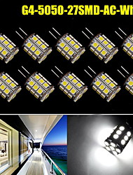 10x Pure White G4 Pin 27 SMD LED 5050 360 Degree 12V AC/DC 450LM Crystal lights