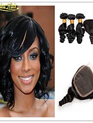 4 PC / Los brasilianisches reines Haar mit Verschlussmenschenhaar mit Verschluss 8a brasilianische lose Welle Haarbündel 3 auf Lager
