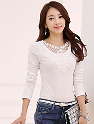 Peach John Women's Patchwork Lace Casual Round Long Sleeve T-Shirts