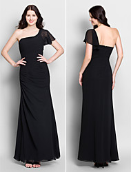 Lanting Ankle-length Chiffon Bridesmaid Dress - Black Trumpet/Mermaid One Shoulder