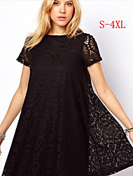 Kamengsi Women's Solid Color / Black / Green Dresses , Beach / Casual / Party / Work Round Short Sleeve plus size