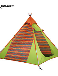 HIMAGET Brand High Quality Single Layer 4 Person 1 Door Outdoor Camping Products Pattern  Steel Pole Tipi Tent