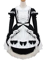 poliéster blanco y negro traje de sirvienta type9
