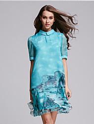 Women's Casual/Daily Swing Dress,Print Shirt Collar Knee-length ½ Length Sleeve Green / Yellow Cotton Summer