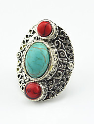 Vintage Antique Silver Oval Turquoise Black Lava Stone Adjustable Free Size Ring(1PC)