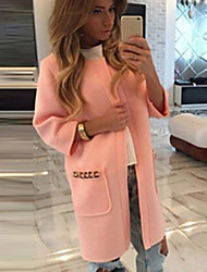 Tiffni Women's Lace / Solid Color Pink / Green / Yellow Coats & Jackets , Casual Round Long Sleeve