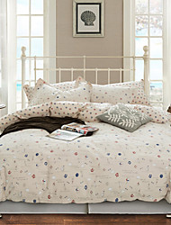 Simple Opulence 100% Cotton Cartoon Printed Ship King Queen Duvet Cover Set with 1 Fitted Sheet and 2 Pillowcases