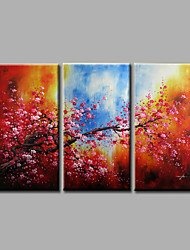 Ready to Hang Stretched Hand-Painted Oil Painting Canvas Wall Art Pink Blossom Flowers Red Modern Three Panels