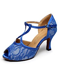 Non Customizable Women's Dance Shoes Latin Leather Flared Heel Blue