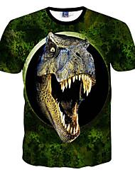 Men's Print Casual T-Shirt,Polyester Short Sleeve-Green