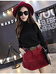 Women's Solid Red / Black / Brown Skirts , Sexy / Casual Above Knee