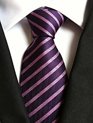 Men Wedding Cocktail Necktie At Work Purple Black Tie