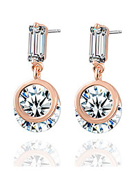 Hanson Women's Korean-style High Quality Elegant Fashion Alloy Inlaid Zircon Jewelry Earrings
