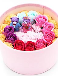 The Bear and Roses Velvet Gift Box in Styrofoam Artificial Flower for Decoration,1 Box