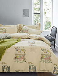 Simple Opulence 100% Cotton Cartoon Printed Holiday King Queen Duvet Cover Set with 1 Fitted Sheet and 2 Pillowcases