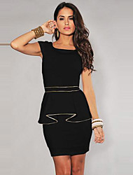 Girls Night Women's Color Block White / Black Dresses , Sexy / Casual / Party Mid Rise Sleeveless