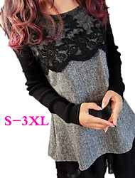 Big girl Women's Color Block Multi-color Dresses , Casual Round Long Sleeve