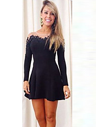 Women's Casual Solid Dress , Strapless Above Knee Polyester