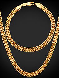 Vogue New Cute Venitian Link Chain Necklace Bracelet Set 18K Real Gold Plated Bracelet for Men / Women High Quality