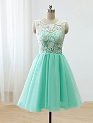 Knee-length Lace / Satin / Tulle Bridesmaid Dress A-line Scoop with Buttons / Lace