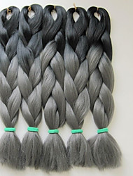"Folded length 20"" 100g Black&Dark Grey Ombre Two Tone Colored Xpression Kanekalon Jumbo Box Braiding Hair"