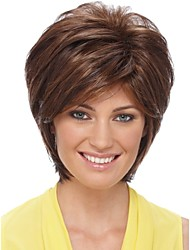 Woman's Brown Straight Short Synthetic Mix Wigs