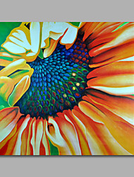 Ready to Hang Stretched Hand-Painted Oil Painting Canvas Wall Art Pop Art Yellow Sunflowers One Panel