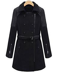 Women's Solid / Patchwork Black Coat , Vintage / Casual Long Sleeve Wool