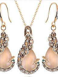 European Opal Necklace Earrings Set (1Set)
