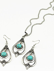 Vintage Look Antique Silver Turquoise Tiger Stone Amethyst (Earring and Necklace)Jewelry Set