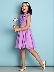 Knee-length Chiffon Junior Bridesmaid Dress-Lilac A-line Jewel