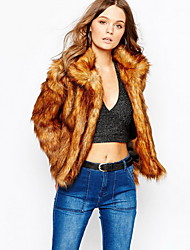 Women Faux Fur Top , Belt Not Included Winter Warm Fur Jacket