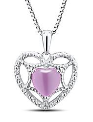 женская мода стерлингового серебра набор с созданной розовый сапфир и алмаз форме сердца кулон с серебряной коробке цепи