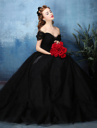 A-Line Off-the-shoulder Floor Length Tulle Formal Evening Black Tie Gala Dress with Sash / Ribbon Side Draping by HUA XI REN JIAO