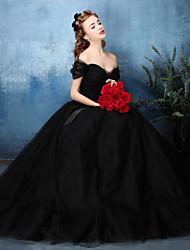 Corte en A Hasta el Suelo Tul Evento Formal Gala de Etiqueta Vestido con Cinta / Lazo Recogido Lateral por HUA XI REN JIAO