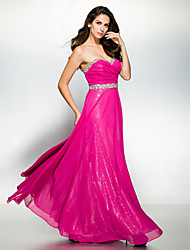 Formal Evening Dress - Fuchsia A-line Sweetheart Ankle-length Chiffon
