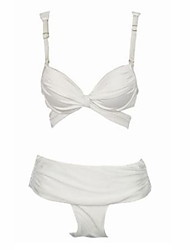 Women's Push-up/Underwire Bra High Rise/Solid/Bandage Halter Bikinis (Nylon/Spandex)