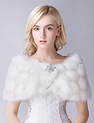 Wedding / Party/Evening Faux Fur Shawls Sleeveless Wedding  Wraps / Fur Wraps / Shawls Red / Ivory