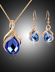 Lucky Doll Women's All Matching Crystal Rose Gold Plated Zirconia Necklace & Earrings Jewelry Sets