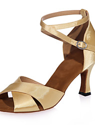 Non Customizable Women's Dance Shoes Satin Satin Latin Sandals Flared Heel Performance / Practice / IndoorBlack / Brown / Red / Silver /