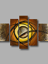 Ready to Hand Stretched Framed Hand-Painted Oil Painting on Canvas Wall Art Abstract Brown Beige Five Panels
