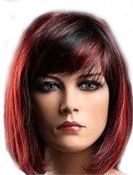 Women Party Sexy Short Straight Red Mixed Synthetic Full Wig